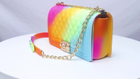Rainbow Handbag 2019 New One Shoulder Slung Rhombic Chain Color Jelly Bag