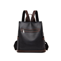 JUNYUAN Fashion Trend Backpack Female Anti-theft PU Leather Waterproof Solid Color Handbag
