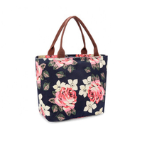 JUNYUAN Women's Floral Water-resistant Lunch Bag Insulated Cooler Bag Tote Bag
