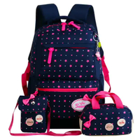 New Four Piece Backpack Canvas Student Bag Printing Backpack Travel Bag