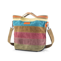 JUNYUAN Multi-Color Striped Cross Body Shoulder Purse Bag Tote-Handbag for Women