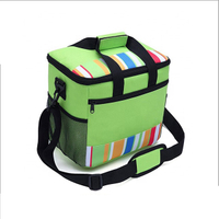 JUNYUAN Green Stripe Outdoor Picnic Bag Cooler Bag Tote Insulated Lunch Bag