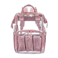 JUNYUAN Multi-functional Transparent Travel Pvc Polyester Tote Baby Backpack Diaper Bag ,Mummy Backpack