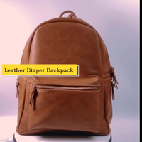 Leather Diaper Backpack Bag with Adjustable Shoulder Straps