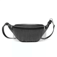 Stylish Outdoor Fringed Chain PU Leather Mini Fanny Pack Waist Bag