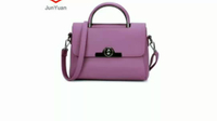JUNYUAN Woman's Solid Color Twist Lock Ladies handbag Fashion Shoulder Bag PU Handbag