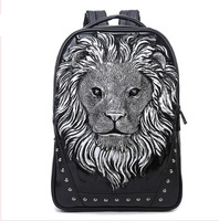 JUNYUAN Fashion PU Backpack Animal Lion Head Travel Laptop Backpack
