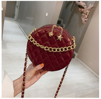 New Women's Tote Bag Small Circle Plaid Star Lady PU Fashion Hand Bag