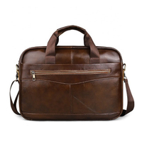 JUNYAUN Men's Genuine Leather Briefcase Business Bag Handbag
