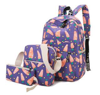 3 Pieces School Bag Set Fashion Girls Canvas Carrot Backpack Set For Kids