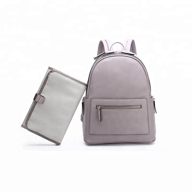 Two Colors Are Available PU Leather Baby Travel Diaper Backpack